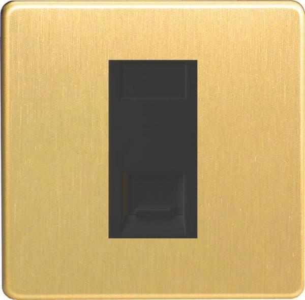 XDBGTSBS Varilight 1 Gang (Single), Telephone Slave Socket, Dimension Screwless Brushed Brass Effect with Black insert