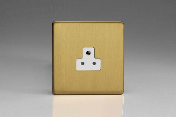 XDBRP2AWS Varilight 1 Gang (Single), 2 Amp Round Pin Socket, Dimension Screwless Brushed Brass Effect