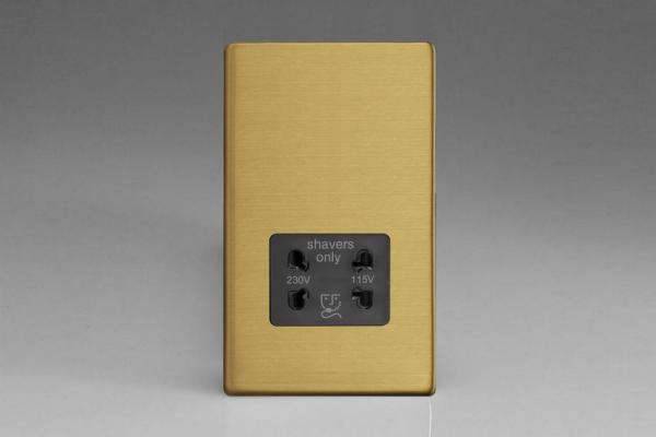 XDBSSBS Varilight Dual Voltage Shaver Socket, Dimension Screwless Brushed Brass Effect