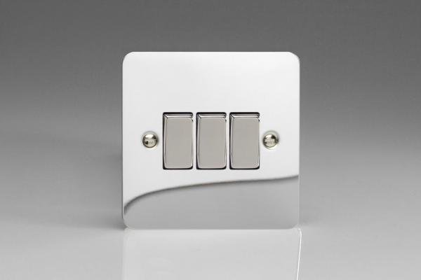 XFC3D Varilight 3 Gang (Triple), 1 or 2 Way 10 Amp Switch, Ultra Flat Polished Chrome