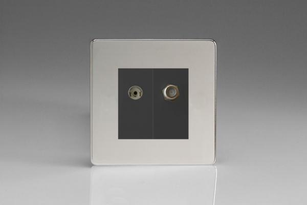 Varilight 2 Gang Comprising of Black Co-axial TV and Satellite TV Socket Screwless Polished Chrome