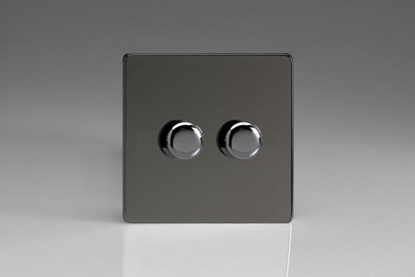 HDI4S Varilight V-Dim Series 2 Gang, 1 or 2 Way 2x250 Watt Dimmer, Dimension Screwless Iridium Black