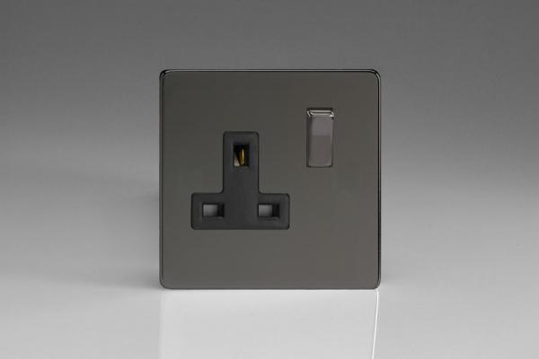 XDI4BS Varilight 1 Gang (Single), 13 Amp Switched Socket, Dimension Screwless Iridium Black