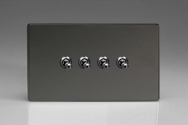 XDIT9S Varilight 4 Gang (Quad), 1or 2 Way 10 Amp Classic Toggle Switch, Dimension Screwless iridium Black (Double Plate)