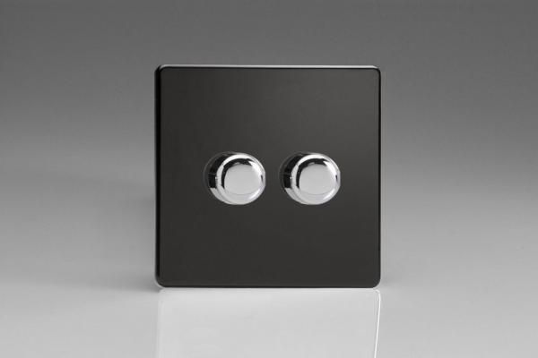HDL4S Varilight V-Dim Series 2 Gang, 1 or 2 Way 2x250 Watt Dimmer, Dimension Screwless Premium Black