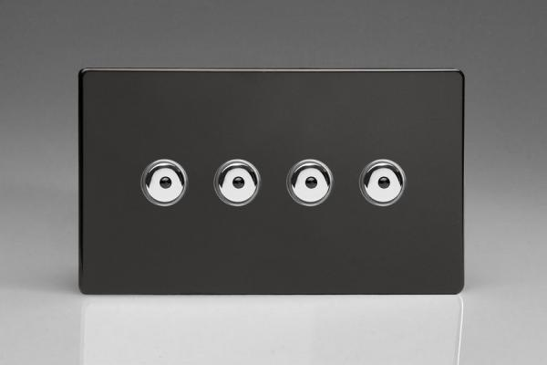 IDLI254MS Varilight 4 Gang, 1 or 2 Way or Multi-way 4x250 Watt Touch/Remote Master Dimmer, Dimension Screwless Premium Black