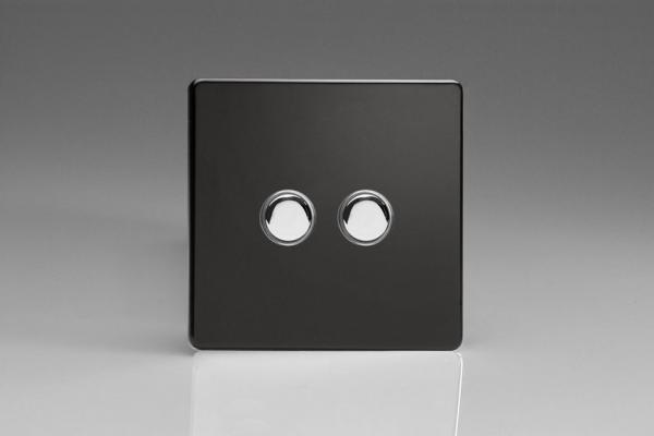 XDLP2S Varilight 2 Gang (Double) 1 or 2 way 6 Amp Push-on Push-off Switch (impulse), Dimension Screwless Premium Black