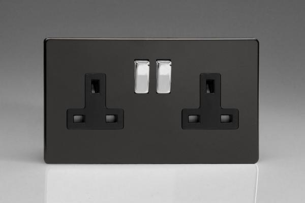 XDL5BS Varilight 2 Gang (Double), 13 Amp Switched Socket, Dimension Screwless Premium Black