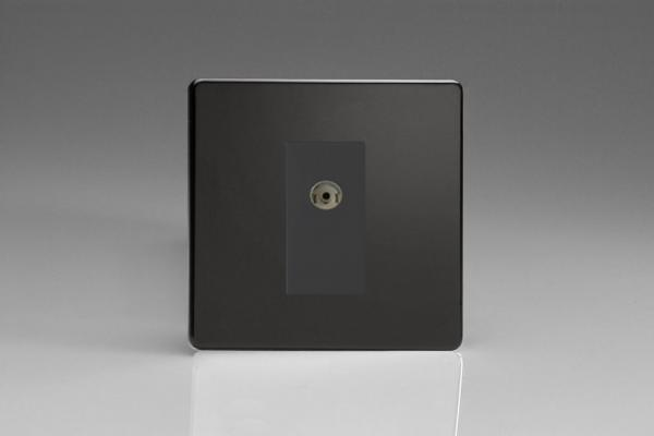 Varilight 1 Gang Black Co-axial TV Socket