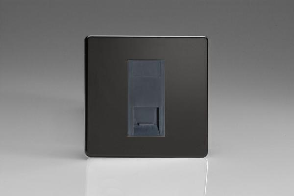 XDLGTSBS Varilight 1 Gang (Single), Telephone Slave Socket, Dimension Screwless Premium Black with Black insert