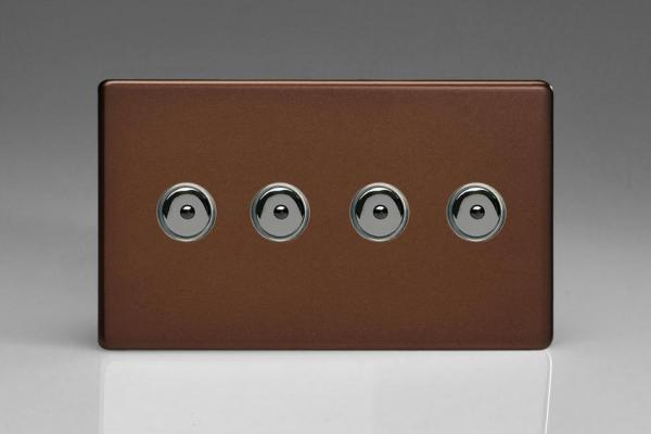 IDMI254MS-CL Varilight 4 Gang, 1 or 2 Way or Multi-way 4x250 Watt Touch/Remote Master Dimmer, Dimension Screwless Mocha
