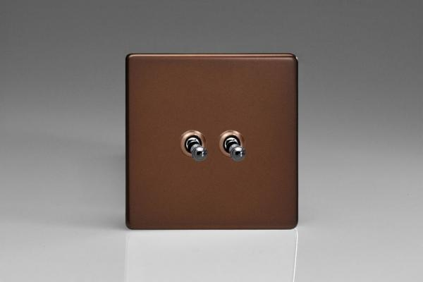 XDMT2S Varilight 2 Gang (Double), 1 or 2 Way 10 Amp Classic Toggle Switch, Dimension Screwless Mocha
