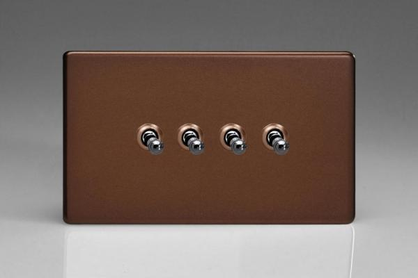 XDMT9S Varilight 4 Gang (Quad), 1or 2 Way 10 Amp Classic Toggle Switch, Dimension Screwless Mocha (Double Plate)