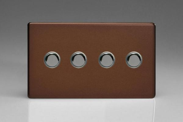 XDMP4S Varilight 4 Gang (Quad) 1 or 2 way 6 Amp Push-on Push-off Switch (impulse), Dimension Screwless Mocha