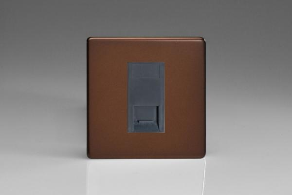 Varilight 1 Gang Black Telephone Slave Socket Screwless Mocha