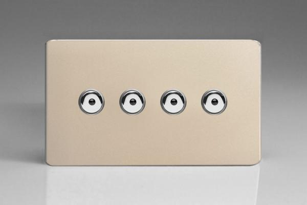 IDNI254MS Varilight 4 Gang, 1 or 2 Way or Multi-way 4x250 Watt Touch/Remote Master Dimmer, Dimension Screwless Satin Chrome