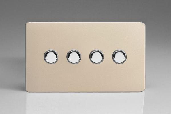 IDNS004S Varilight 4 Gang, Multi-way Touch Slave Unit, Dimension Screwless Satin Chrome