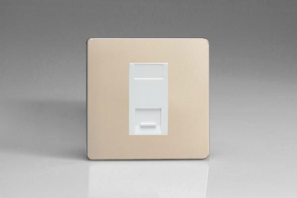 XDNGTSWS Varilight 1 Gang (Single), Telephone Slave Socket, Dimension Screwless Satin Chrome with White insert