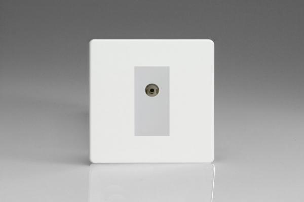 XDQG8WS Varilight 1 Gang (Single), Co-axial TV Socket, Dimension Screwless Premium White with White insert