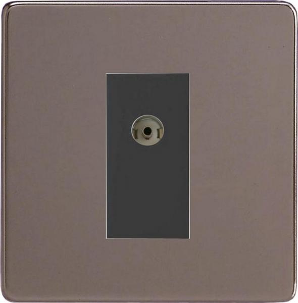 XDRG8ISOBS Varilight 2 Gang (Double), Isolated Co-axial TV Socket, Dimension Screwless Pewter