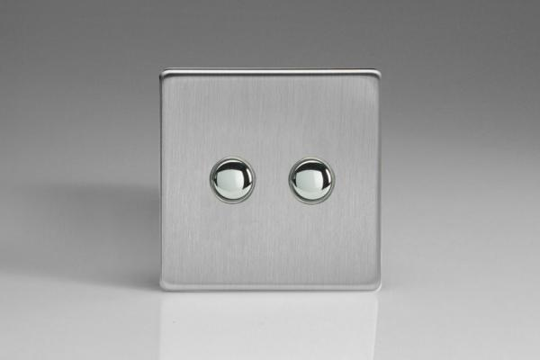XDSP2S Varilight 2 Gang (Double) 1 or 2 way 6 Amp Push-on Push-off Switch (impulse), Dimension Screwless Brushed Steel