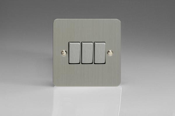 XFS3D Varilight 3 Gang (Triple), 1 or 2 Way 10 Amp Switch, Ultra Flat Brushed Steel