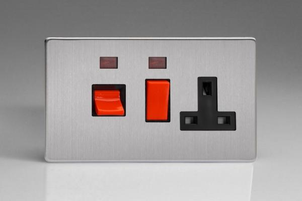 XDS45PNBS Varilight 45 Amp Cooker Panel with 13 Amp Switched Socket and with Neon (Horizontal Double Size), Dimension Screwless Brushed Steel
