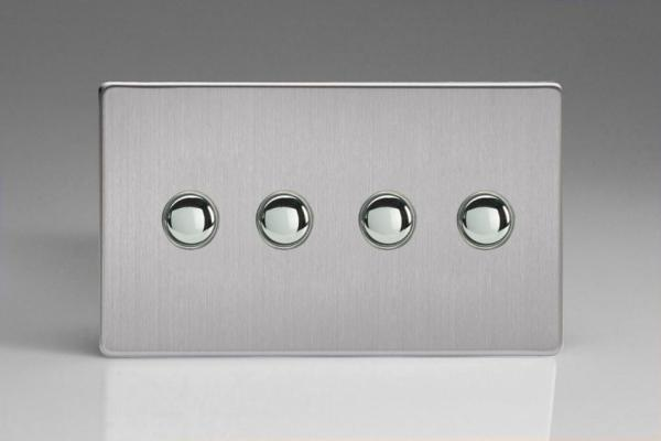 XDSP4S Varilight 4 Gang (Quad) 1 or 2 way 6 Amp Push-on Push-off Switch (impulse), Dimension Screwless Brushed Steel