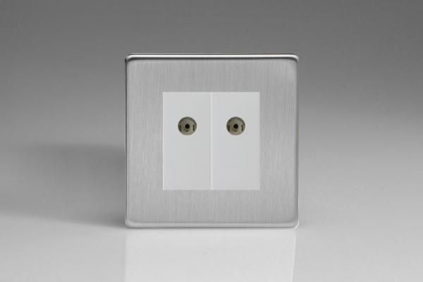 XDSG88WS Varilight 2 Gang (Double), Co-axial TV Socket, Dimension Screwless Brushed Steel