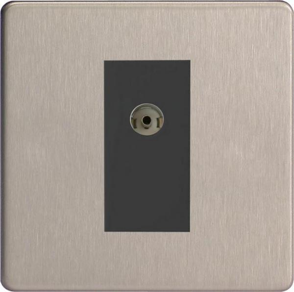 XDSG8ISOBS Varilight 2 Gang (Double), Isolated Co-axial TV Socket, Dimension Screwless Brushed Steel
