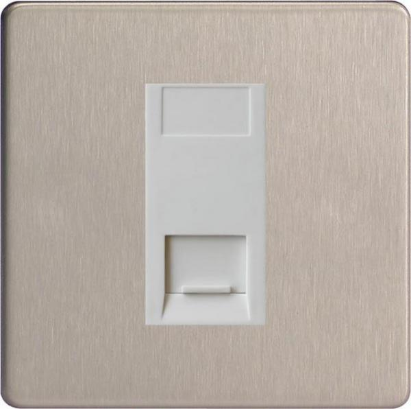 XDSGTSWS Varilight 1 Gang (Single), Telephone Slave Socket, Dimension Screwless Brushed Steel with White insert
