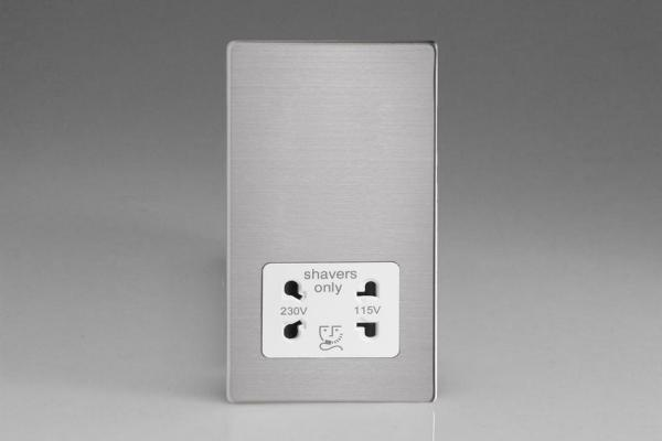 Varilight White Dual Voltage 240V/115V IP41 Shaver Socket Screwless Brushed Steel