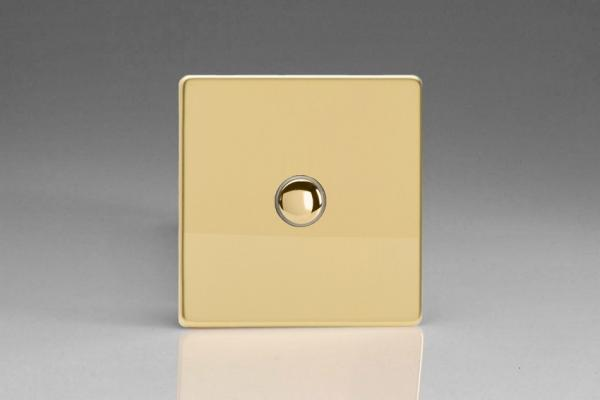 IDVS001S Varilight 1 Gang, Multi-way Touch Slave Unit Dimension Screwless Polished Brass Effect