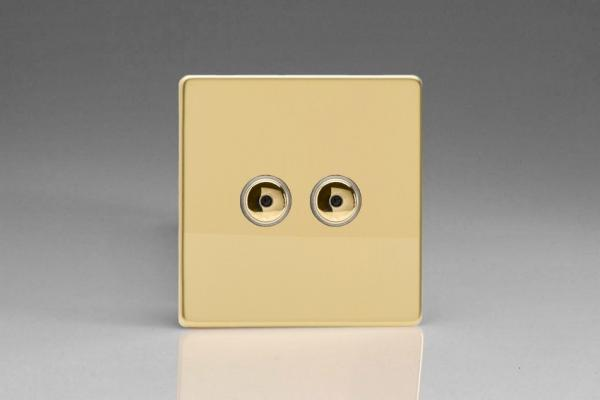 IDVI252MS Varilight 2 Gang, 1 or 2 Way or Multi-way 2x250 Watt Touch/Remote Master Dimmer, Dimension Screwless Polished Brass Effect
