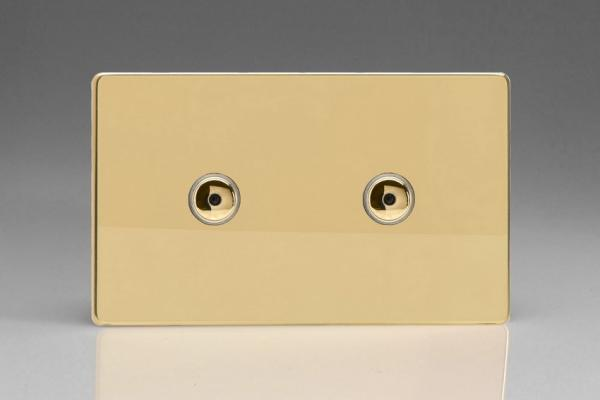 IDVI602MS Varilight 2 Gang, 2x600W 1 or 2 Way or Multi-way Touch/Remote Master Dimmer, Dimension Screwless Polished Brass Effect