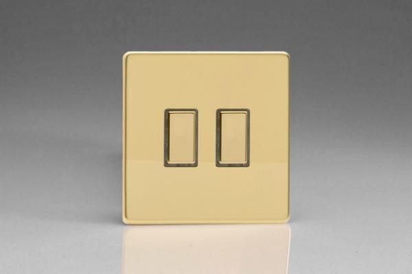 V-Pro Multi Point Tactile Touch Slave (MP Slave) Series 2 Gang Unit for use with V-Pro Multi Point Remote Master Dimmers Screwless Polished Brass