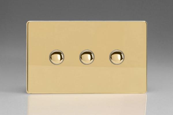 IDVS003S Varilight 3 Gang, Multi-way Touch Slave Unit, Dimension Screwless Polished Brass Effect