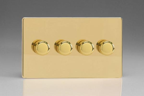 JDVDP254S Varilight V-Pro Series 4 Gang, 1 or 2 Way,  Push-On/Off Rotary LED Dimmer 4 x 0-120W (1-10 LEDs) (Twin Plate), Dimension Screwless Polished Brass Effect