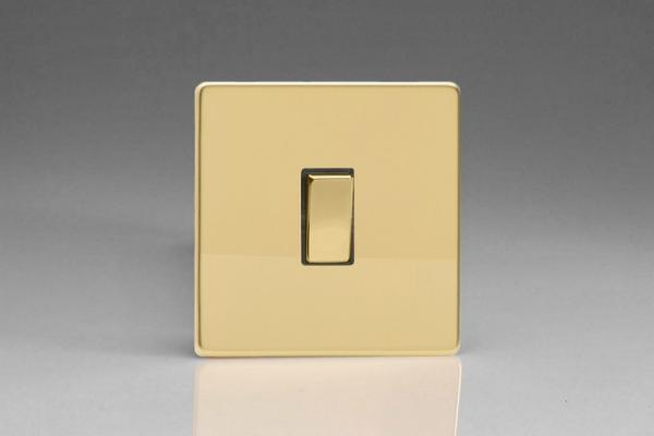 Varilight 1 Gang 20 Amp Double Pole Switch Screwless Polished Brass