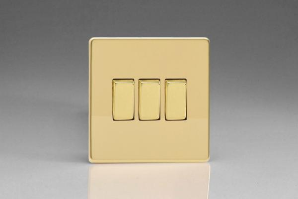 Varilight 3 Gang 10 Amp Switch Screwless Polished Brass