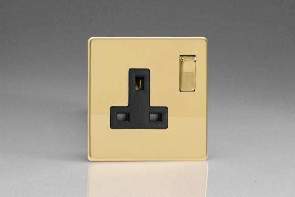 XDV4BS Varilight 1 Gang (Single), 13 Amp Switched Socket, Dimension Screwless Polished Brass Effect