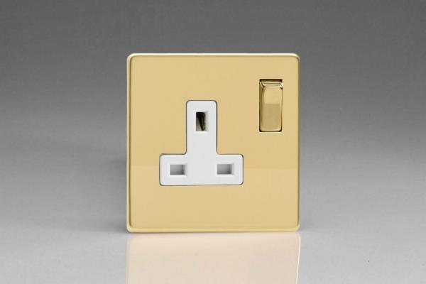 Varilight 1 Gang 13 Amp Double Pole Switched Socket Screwless Polished Brass