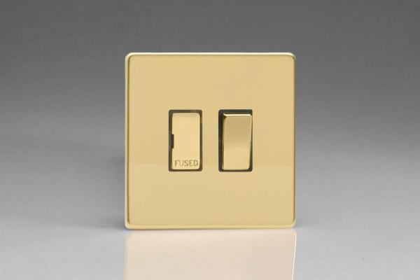Varilight 1 Gang 13 Amp Double Pole Switched Fused Spur Screwless Polished Brass