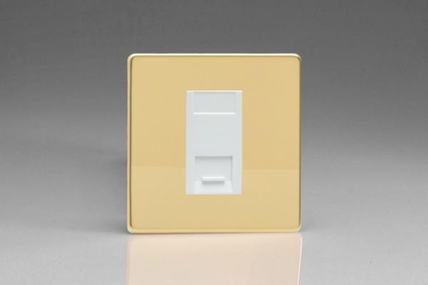 XDVGTMWS Varilight 1 Gang (Single), Telephone Master Socket, Dimension Screwless Polished Brass Effect Finish with White insert