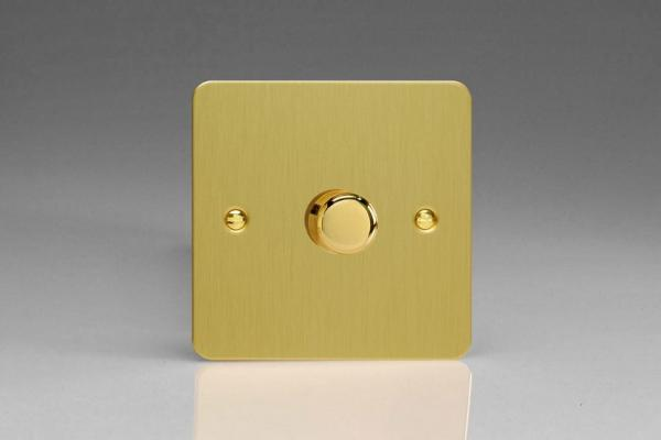 JFBP401 Varilight V-Pro Series, 1 Gang, 1 or 2 Way, Push-On/Off Rotary LED Dimmer 1 x 0-120W (1-10 LEDs), Ultra Flat Brushed Brass Effect