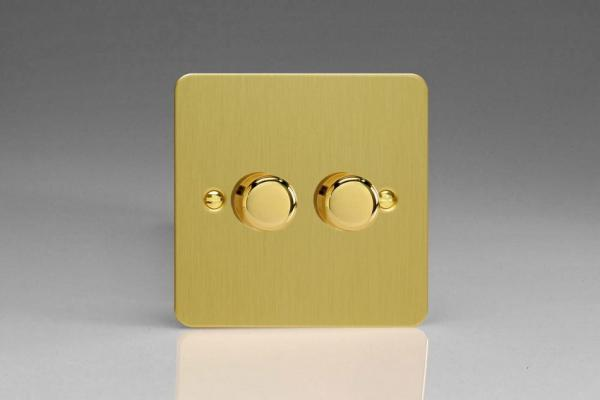 HFB2 Varilight V-Dim Series 2 Gang, 1 Way 2x250 Watt Dimmer, Ultra Flat Brushed Brass Effect
