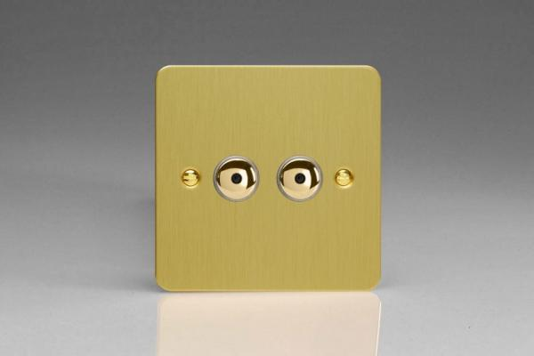 IFBI252M Varilight 2 Gang, 1 or 2 Way or Multi-way 2x250 Watt Touch/Remote Master Dimmer, Ultra Flat Brushed Brass Effect