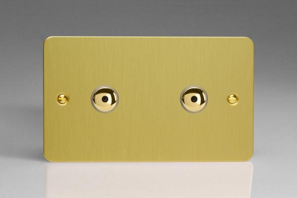 IFBI602M Varilight 2 Gang, 2x600W 1 or 2 Way or Multi-way Touch/Remote Master Dimmer, Ultra Flat Brushed Brass Effect