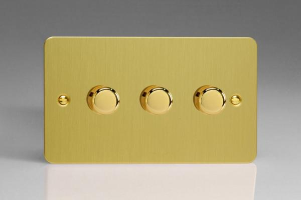HFB43 Varilight V-Dim Series 3 Gang, 1 or 2 Way 3 x250 Watt Dimmer, Ultra Flat Brushed Brass Effect