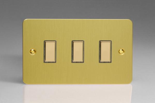 JFBES003 - Varilight V-Pro Series Eclique2  (Multi Point Remote), 3 Gang Tactile Touch Button Slave Unit for 2 way or Multi-way Circuits Only, Ultra Flat Brushed Brass Effect
